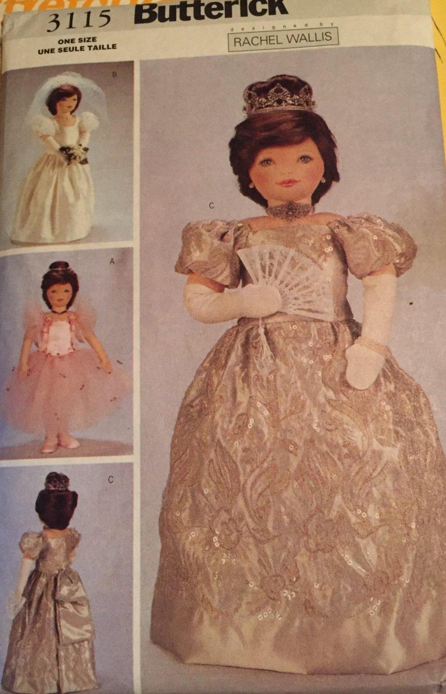 Butterick 3115 Rachel Wallis 23 Inch Doll Ballet Wedding Queen Clothes Sewing Pattern