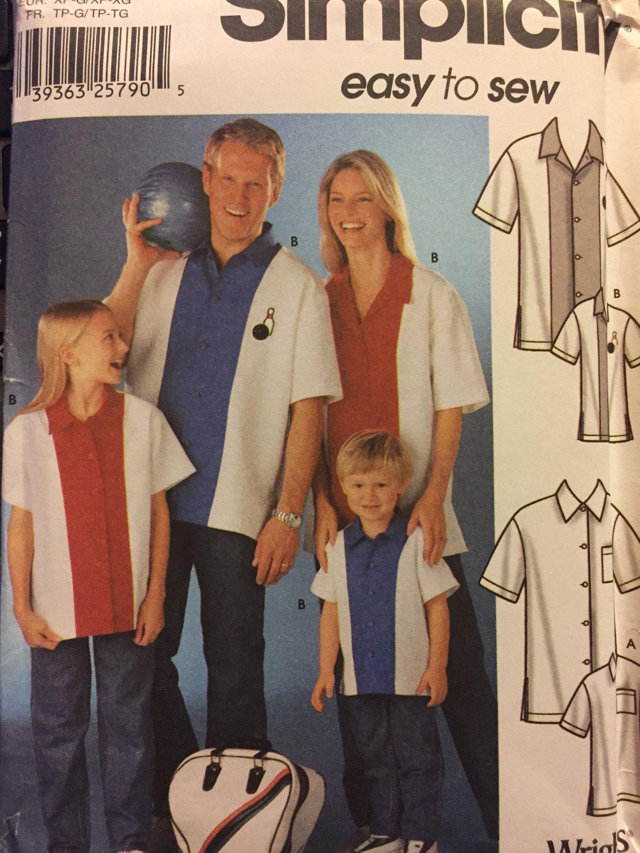 Bowling Shirts Adult, Child Teen XS-XL Uncut Simplicity 7208 Sewing Pattern