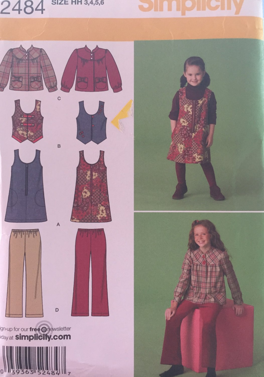 Simplicity 2484 Girls' Jumper, vest, jacket and cropped pant pattern Uncut Sizes 3, 4, 5 and 6