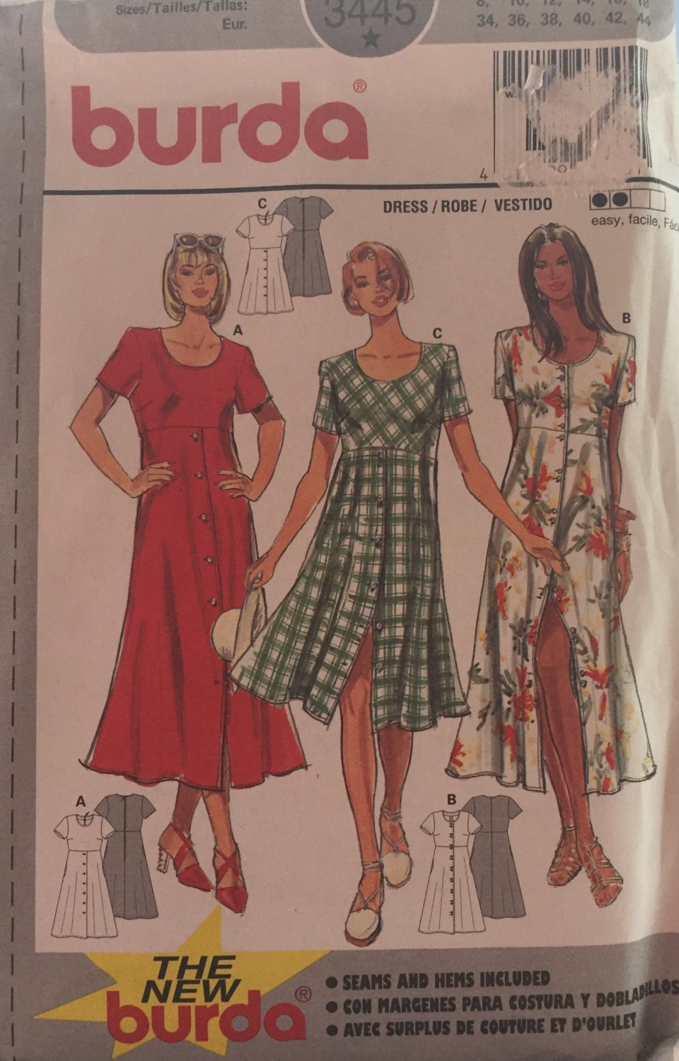 Burda 3445 Misses button front summer dress in two lengths Sewing Pattern Sizes 8 to 18