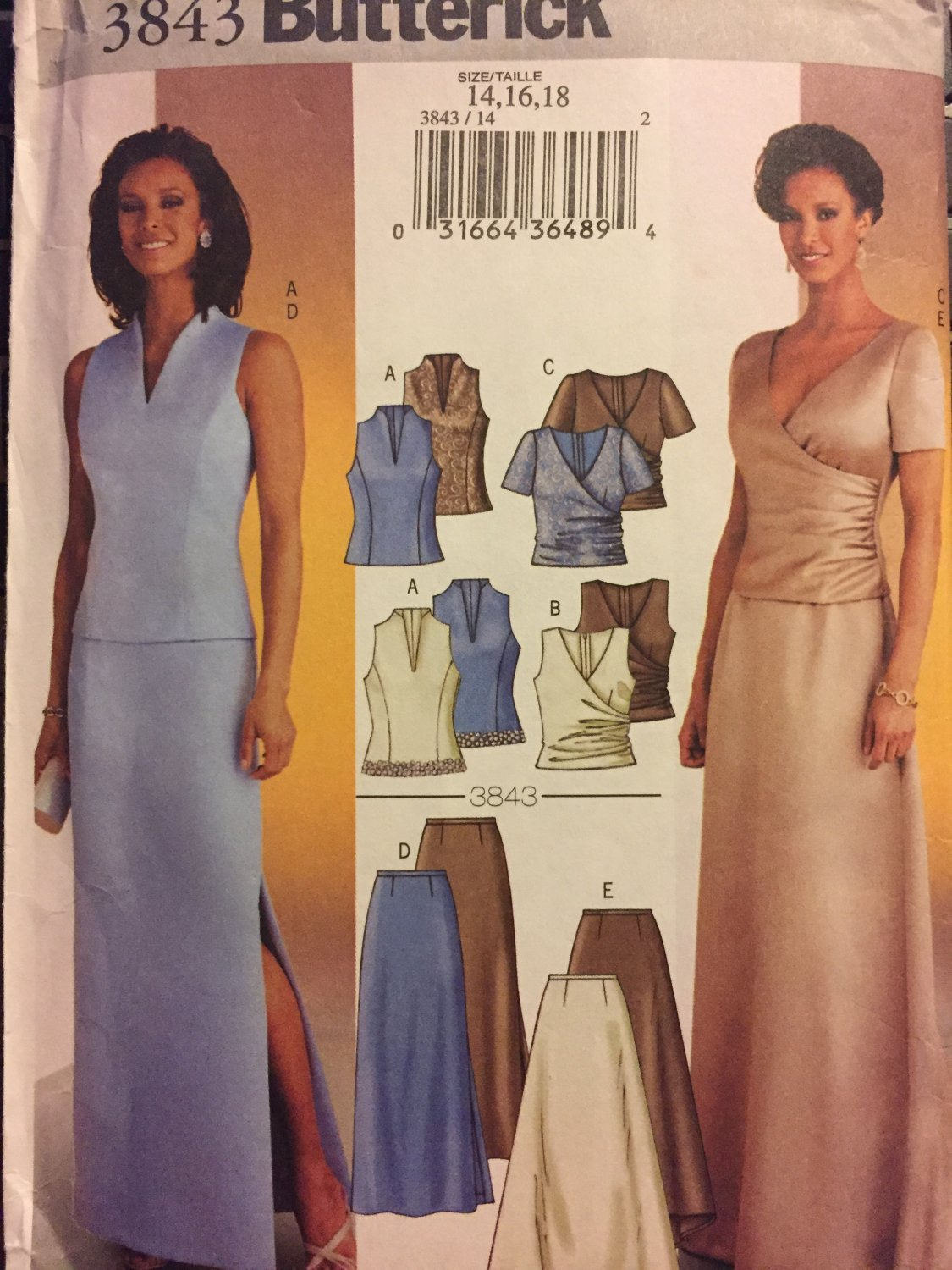 Butterick 3843 Size 14, 16, 18 Misses Evening Wear Long Skirt and Top Sewing Pattern
