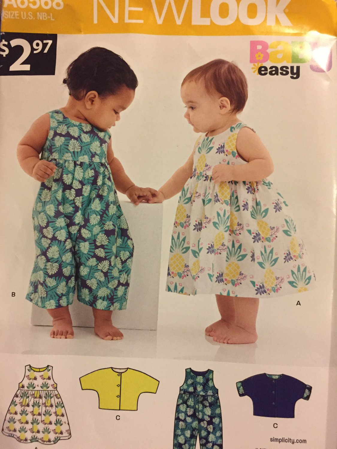 New Look 6568 Size Newborn to Large Sewing Pattern for Babies' Dress, Romper and Jacket