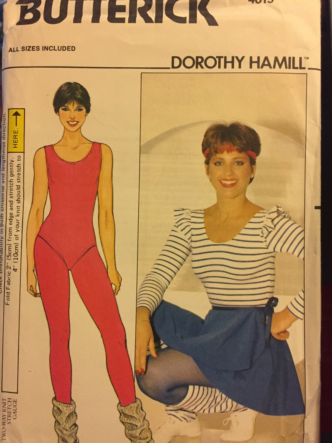 Butterick 4819 Body Suit Skirt Tights Leg warmers sewing pattern  Sz 8 - 18 Dorothy Hamill