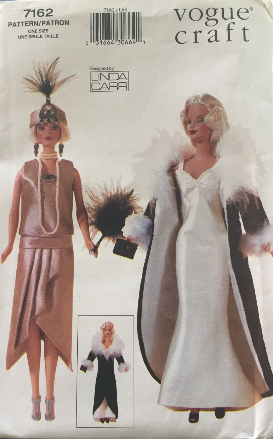 Vogue 7162 Fashion Doll Clothes Sewing Pattern UNCUT  flapper coat 20s 30s