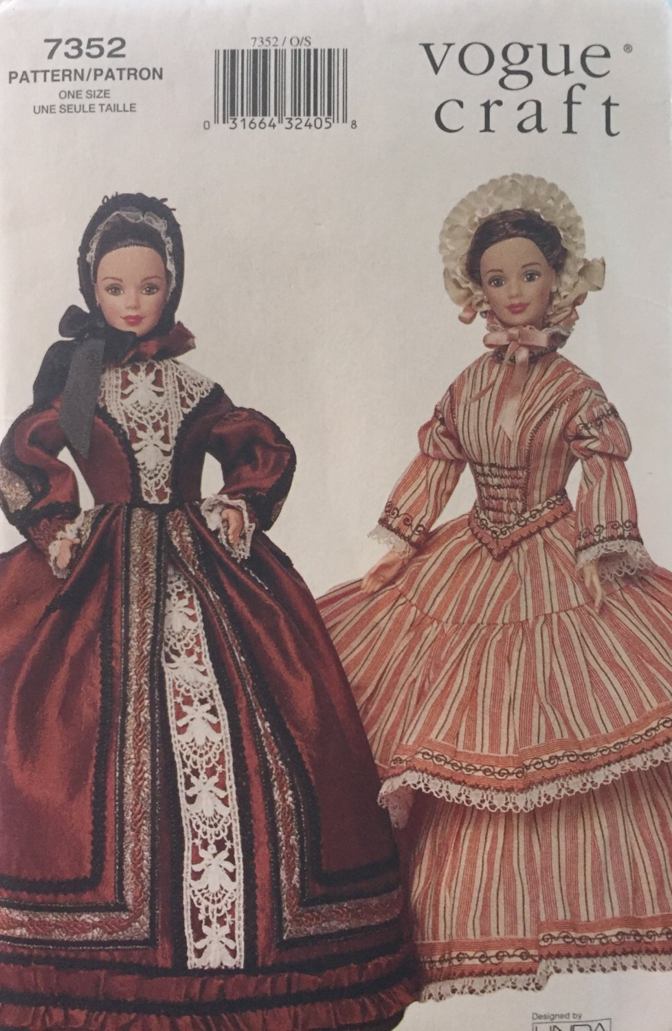 Vogue 7352 Linda Carr Fashion Doll Clothes Pattern 11 1/2 Inch Historical 1840 1850 Sewing Pattern