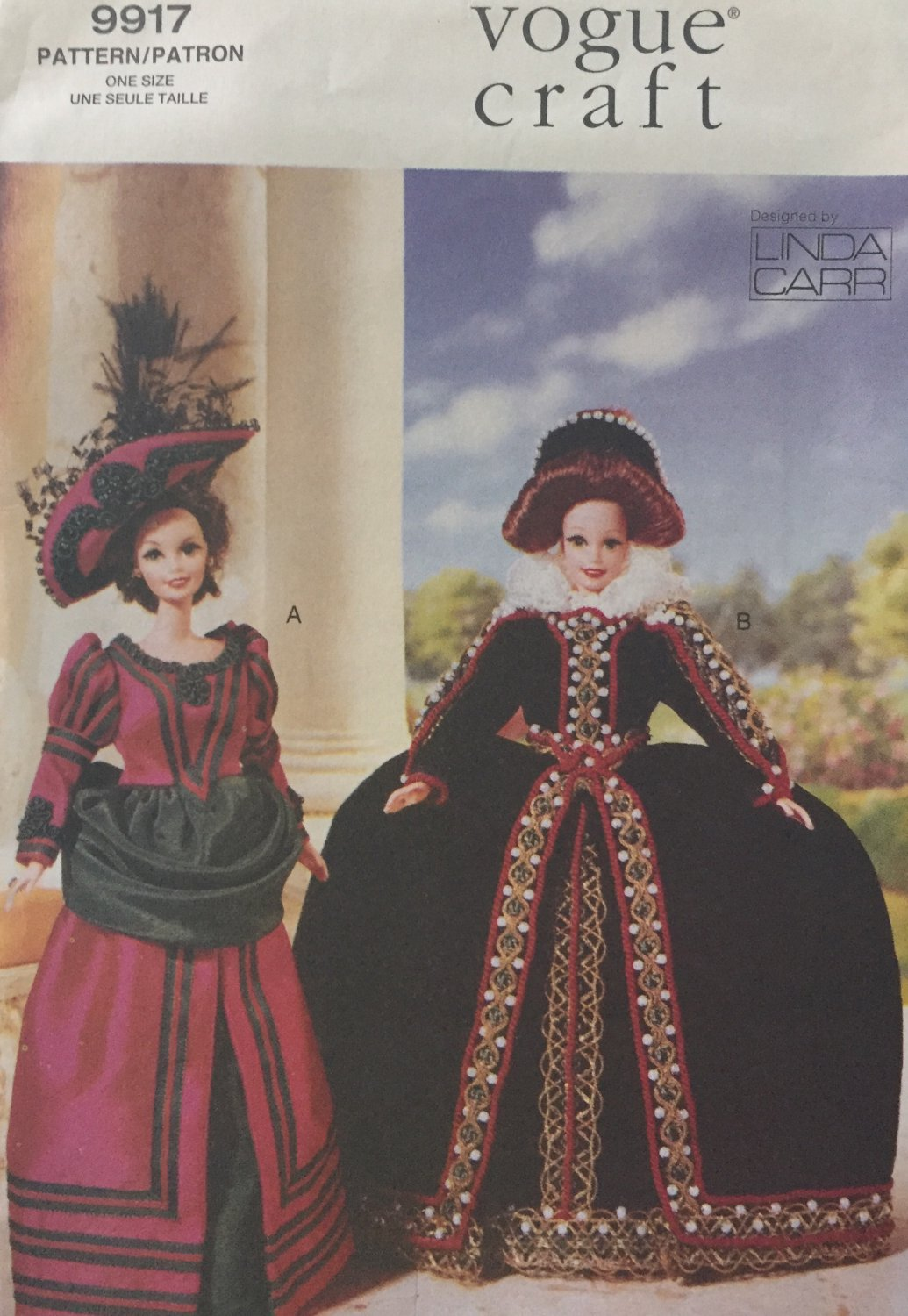 Vogue 9917 Historical Outfits 11 1/2 Inch Doll Clothes Sewing Pattern Linda Carr