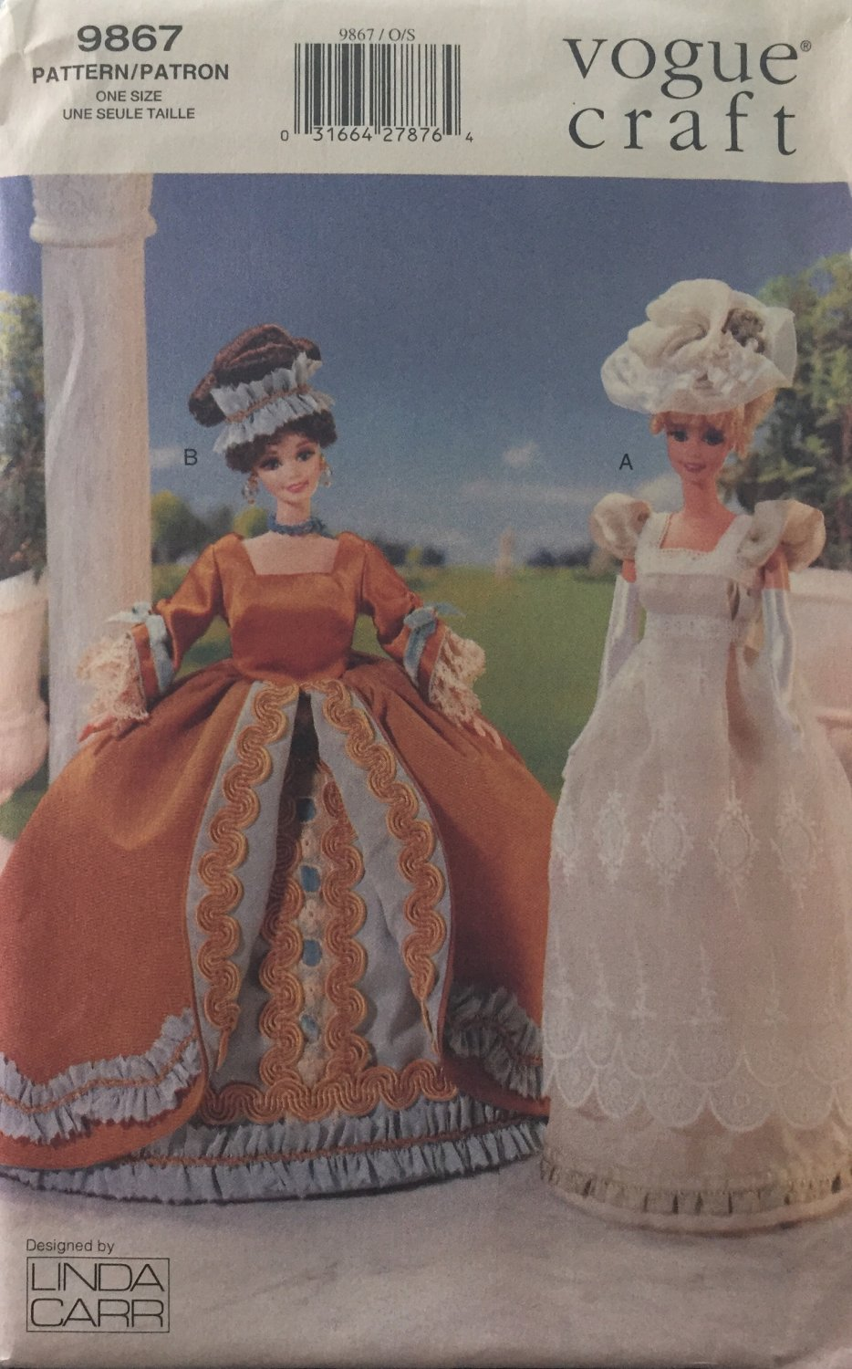 Vogue 9867 Historical Doll Clothes Pattern 11 1/2 Fashion Doll Victorian Wedding Gown Sewing Pattern