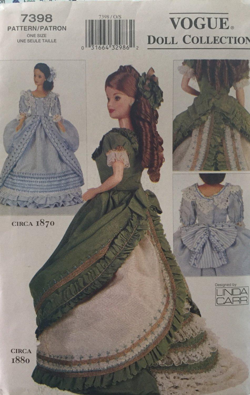 "Vogue Pattern 7398 Historical Design Dresses for 11 1/2"" Dolls Peplum Fancy Hats 1800's"