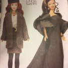 Vogue 7243 1980 1990 Fashion Doll Clothes Sewing Pattern Shrug Gown Hat Jacket Skirt Belt