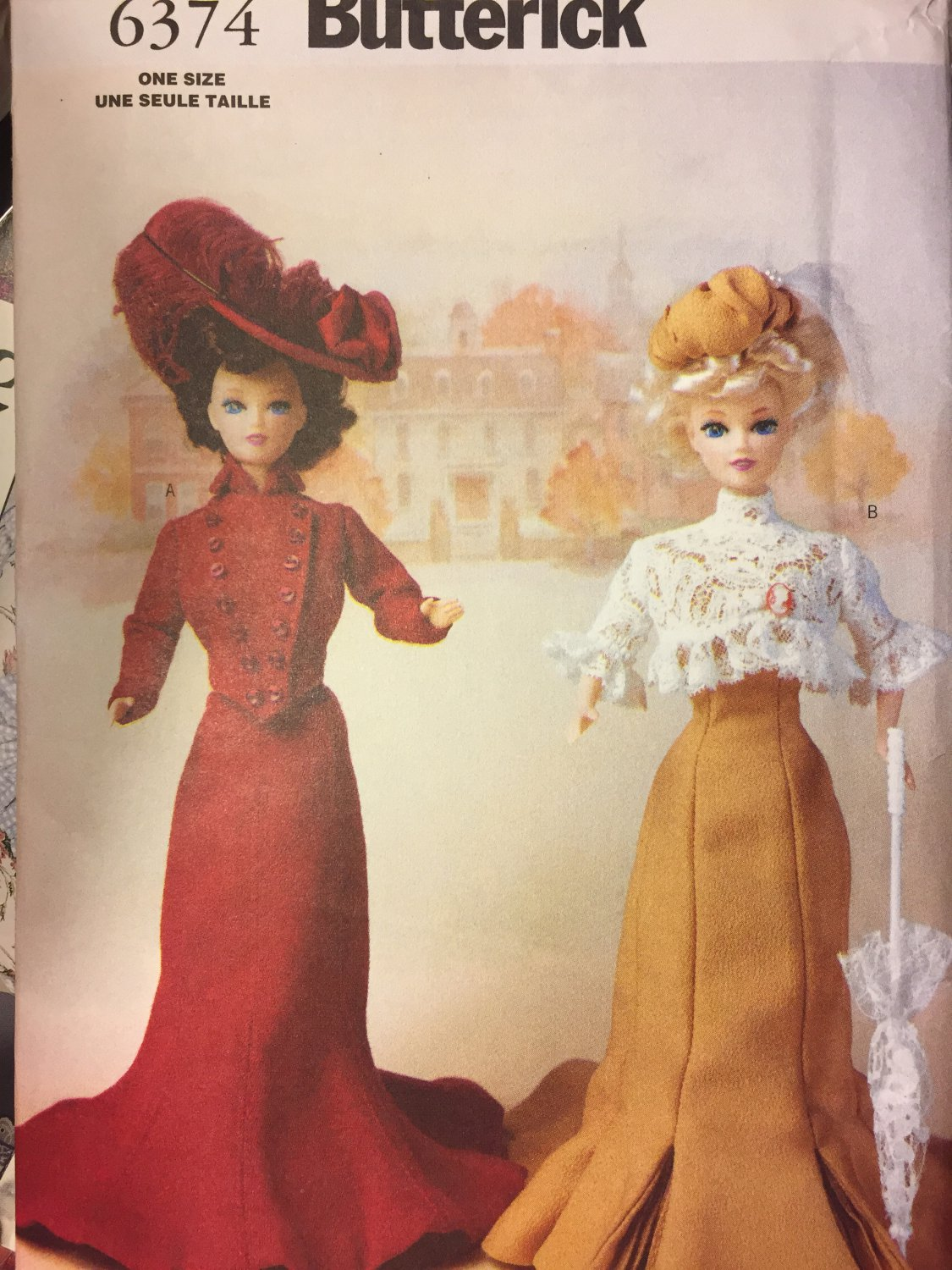Butterick Sewing Pattern 6374 Delineator Girls Circa 1900 Doll Clothes Pattern 11 1/2 Inch Dolls