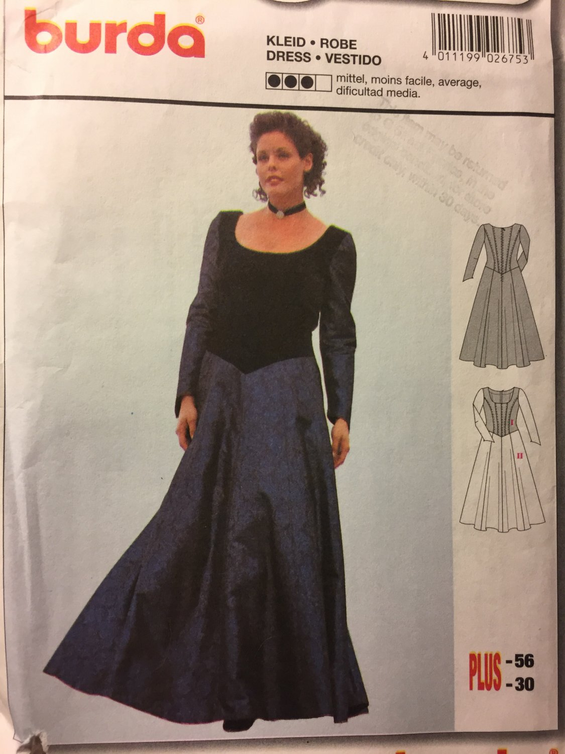 Burda 2675 Misses formal evening gown dress Sewing Pattern Sizes 20 to 30