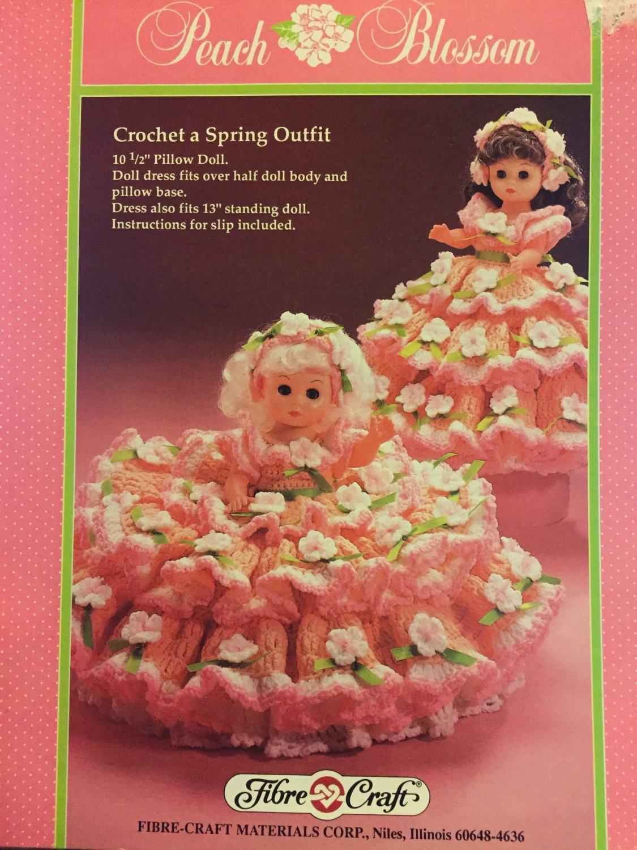 Peach Blossom Pillow Doll, Music Box Doll, or Bed Doll Crochet Pattern Fibre Craft FCM196