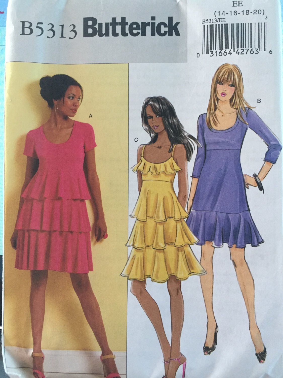 Butterick B5313 Tiered Party Dress sewing pattern 3 style variations Size 14 - 20
