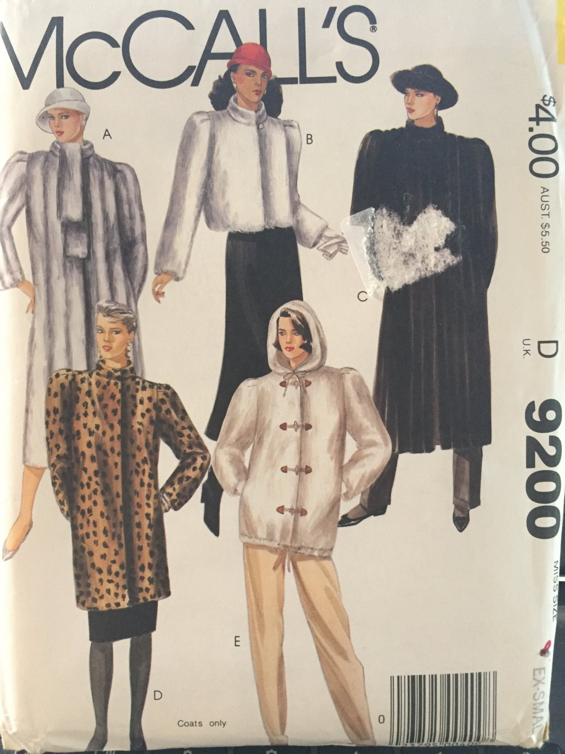 McCalls 9200  Misses coat or jacket for fake fur only size extra small 6 - 8.