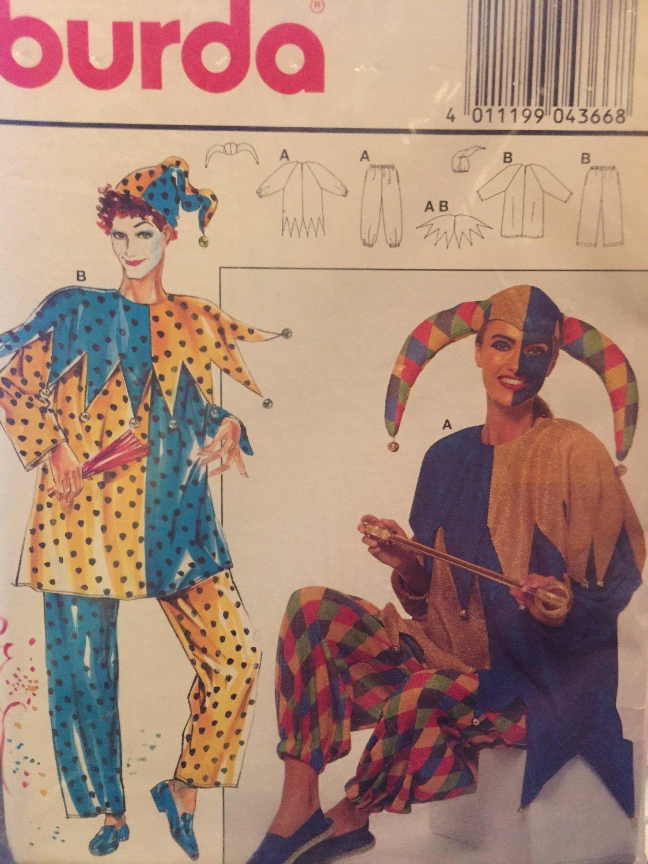 Burda Jester Clown Costume Pattern Adult Size 12 to 26