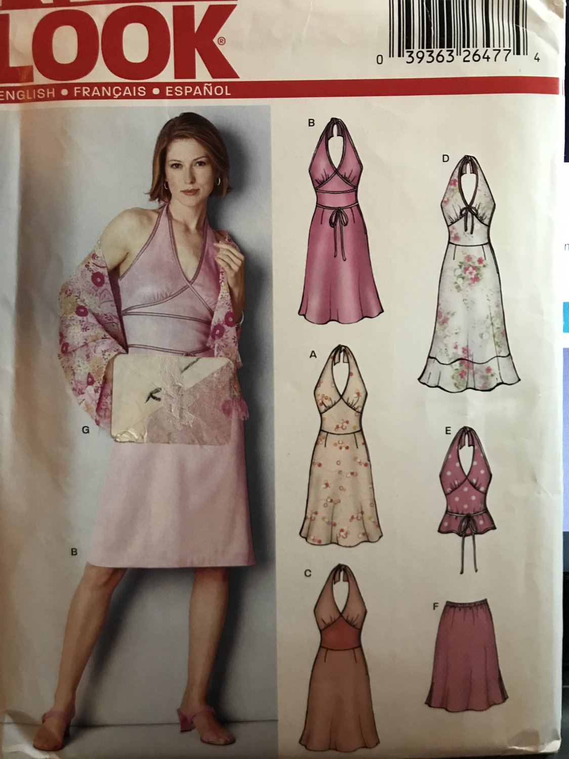 New Look 6242 Halter dress, top skirt size 6-16 sewing pattern
