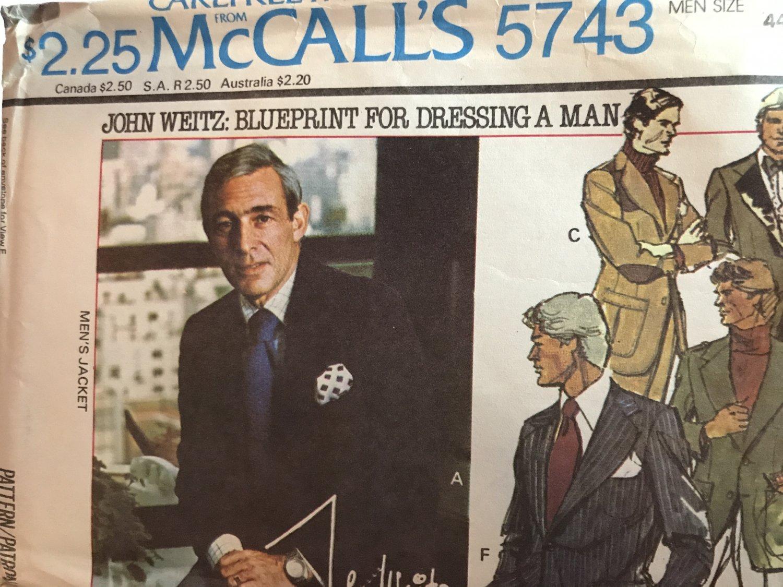 McCall's 6743 John Weitz: Blueprint for Dressing a Man; Men's Jacket size 44 sewing pattern