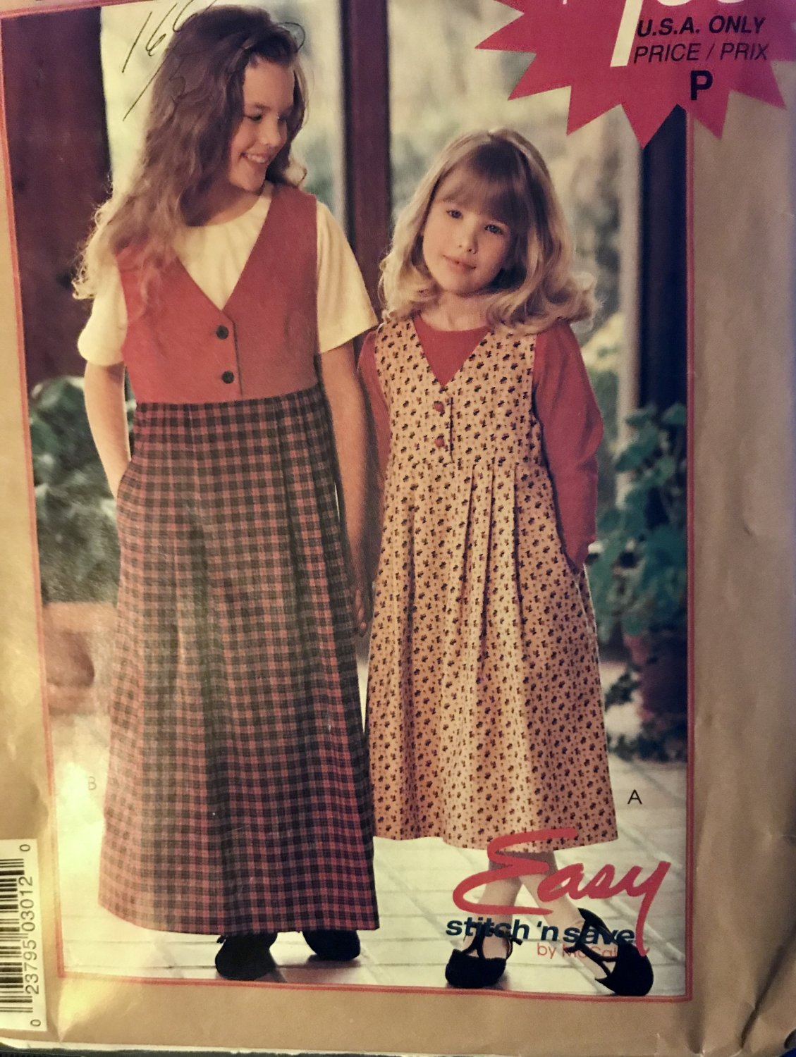 McCall's 8341 P301 Girls' Jumper and Top Sewing Pattern Size 7-14