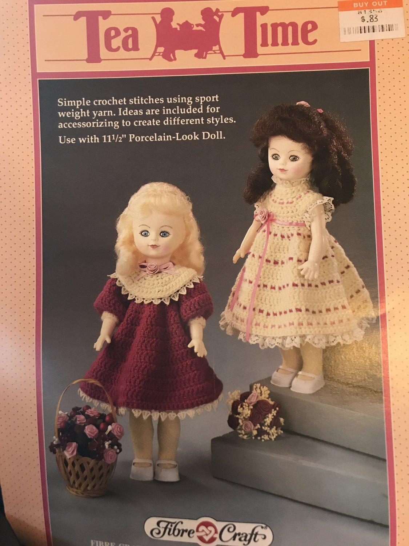 "Tea Time Dresses Crochet Pattern Fibre Craft 214 for 11 1/2"" doll"