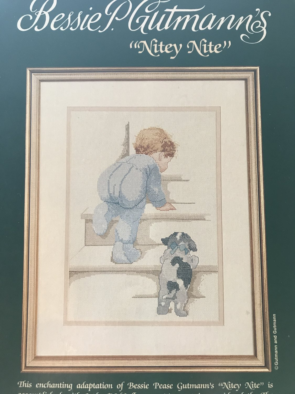 Bessie P. Gutmann's NITEY NITE counted cross stitch leaflet 84011