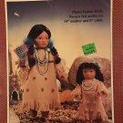 "No Sew Felt outfits Plains Indian Dolls 14"" mother and 8"" child Fibre Craft FCM176"
