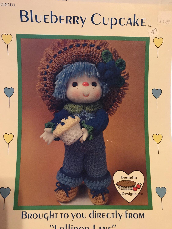 Blueberry Cupcake Crochet doll pattern Lollipop Lane Dumplin Designs CDC411