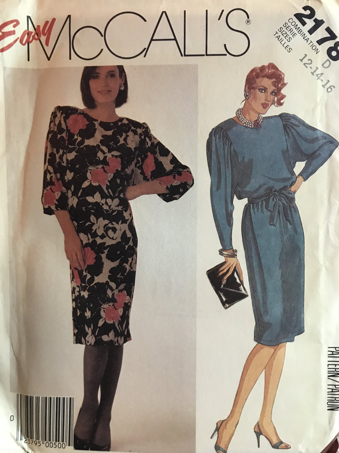 McCalls 2178 Misses' Dress with tie belt Sewing Pattern Size 12 14 16