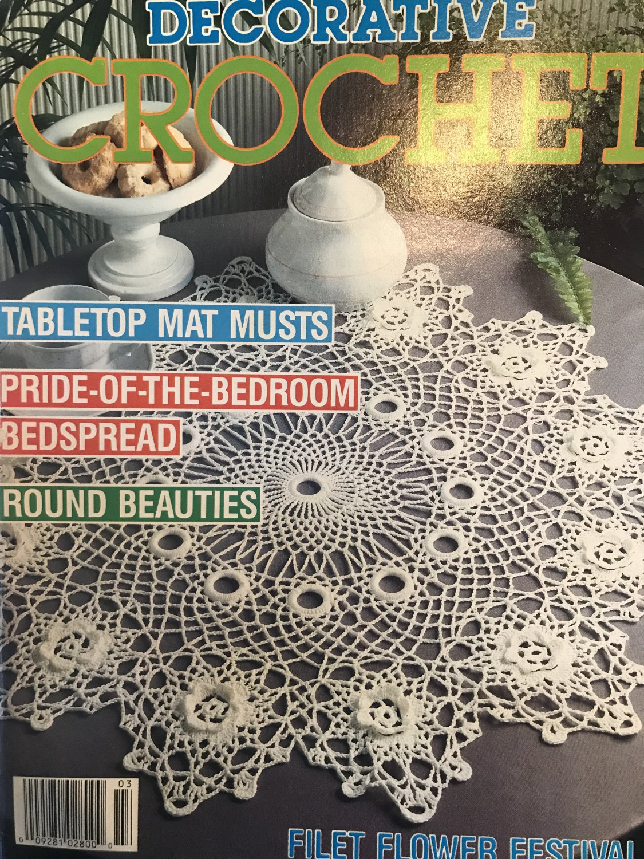 Decorative Crochet Magazine 20 March 1991 Tabletop doilies, filet flower, bedspread thread crochet