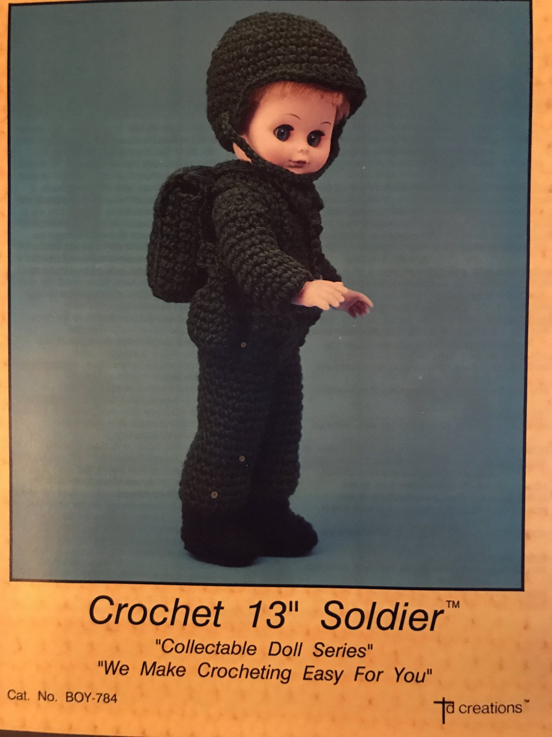 """Crochet Soldier Outfit for 13"""" doll TD creations Pattern Boy-784"""