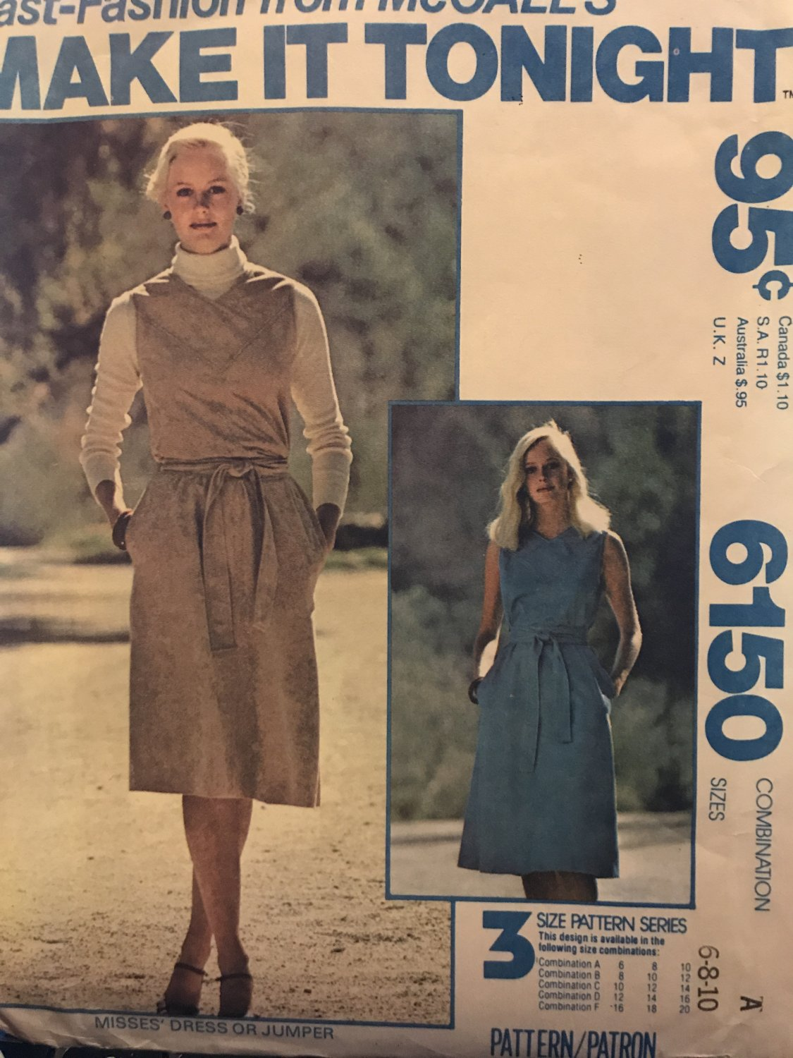 McCall's 6150 Make it Tonight - Misses' Sleeveless Dress or Jumper Sewing Pattern size 6 8 10