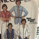 """McCall's 6461 Teen Action Line Jimmy McNichol Shirt Vest Sewing Pattern Neck 18"""" Teen size 14 1/2"""