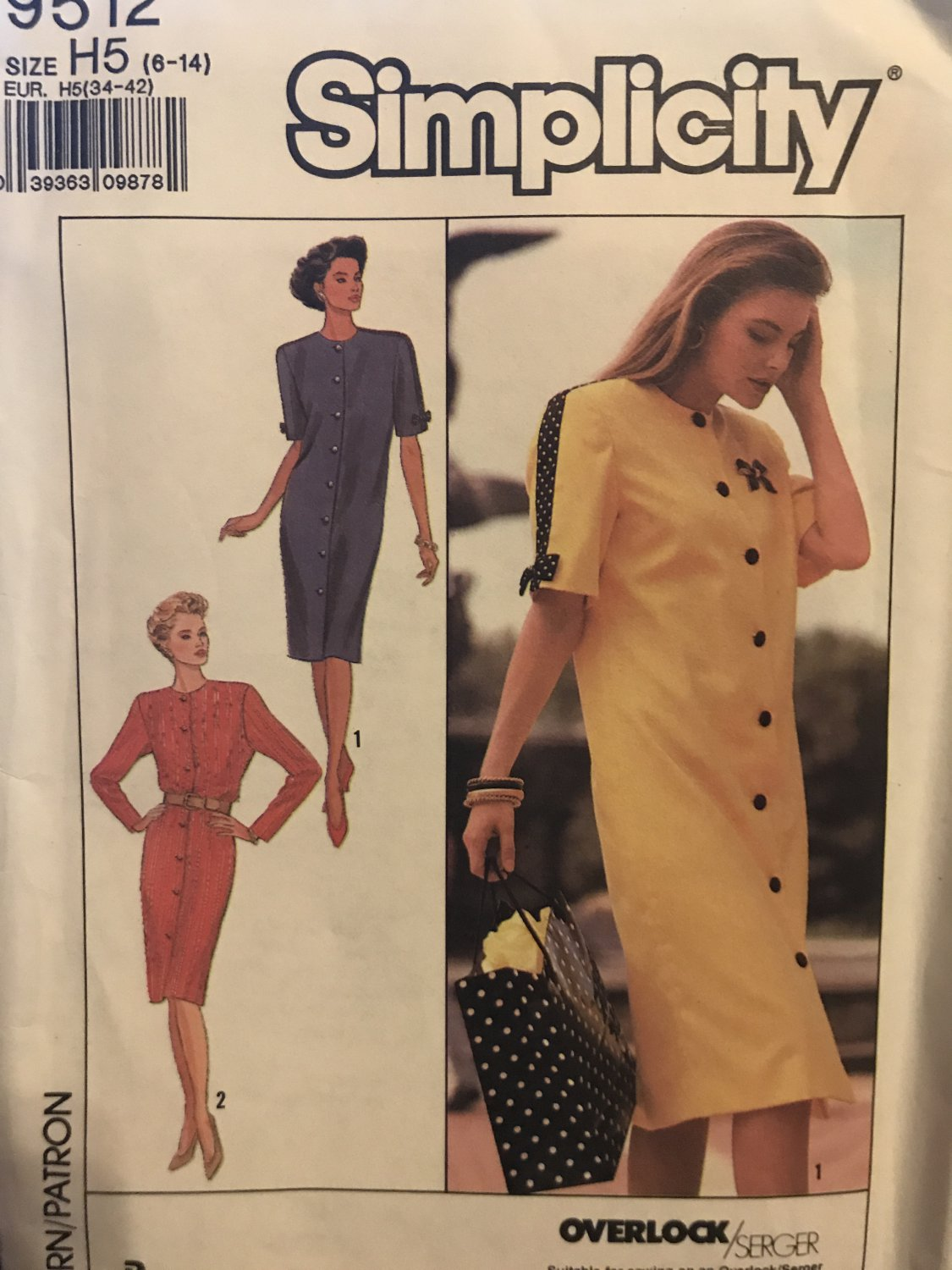 Simplicity 9512 Sewing Pattern Dress with Long or Short Sleeves 6 - 14