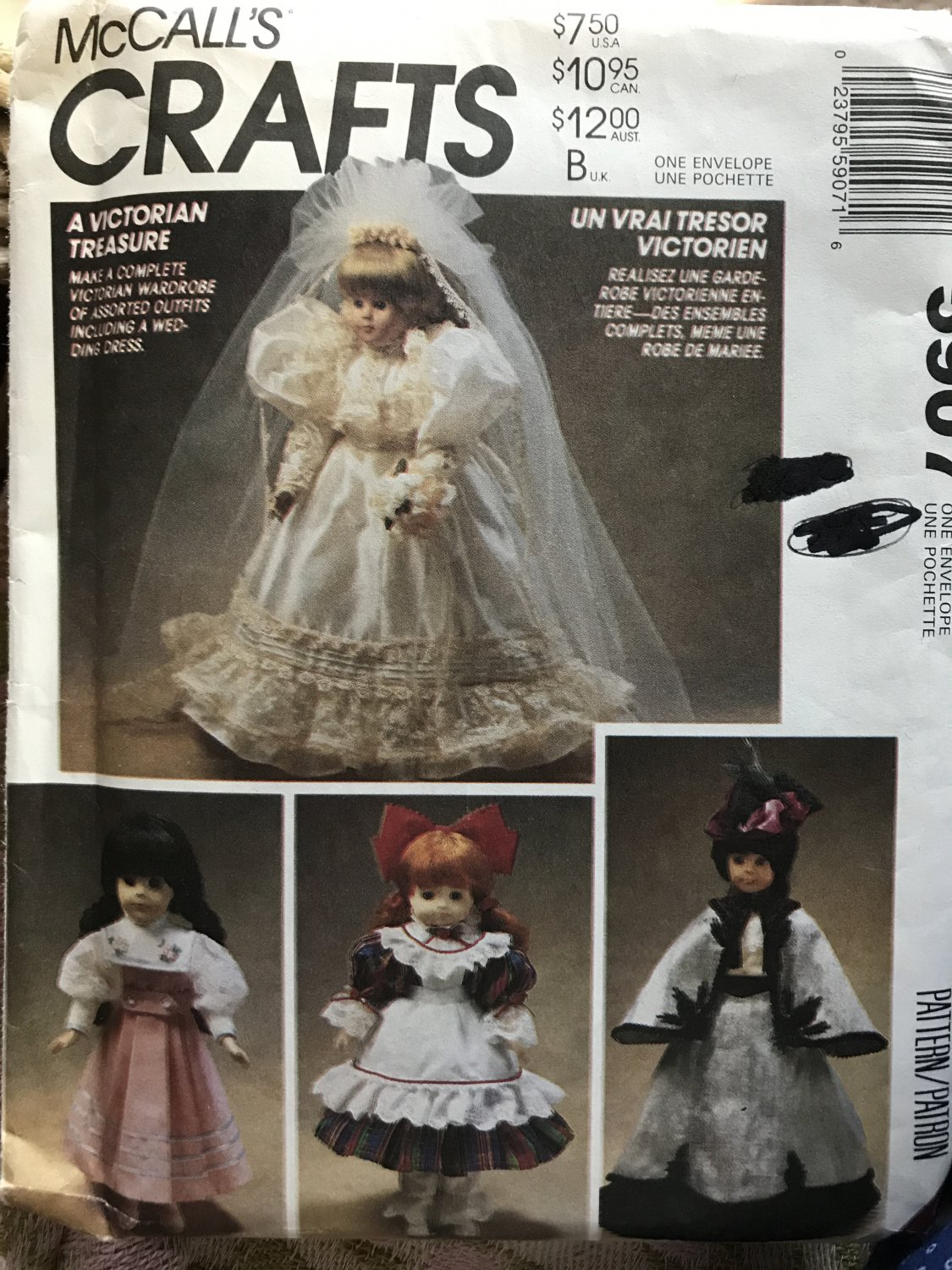 """McCall's 5907 Victorian Doll Clothes for 13"""", 14"""" & 16"""" Dolls Sewing Pattern"""