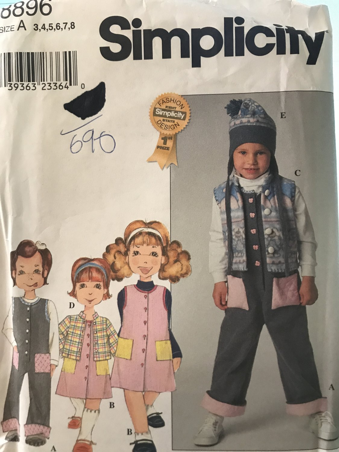 Simplicity 8896 Child's Jumpsuit, Jumper, Vest, Skirt and Top Sewing Pattern Size 3 - 8