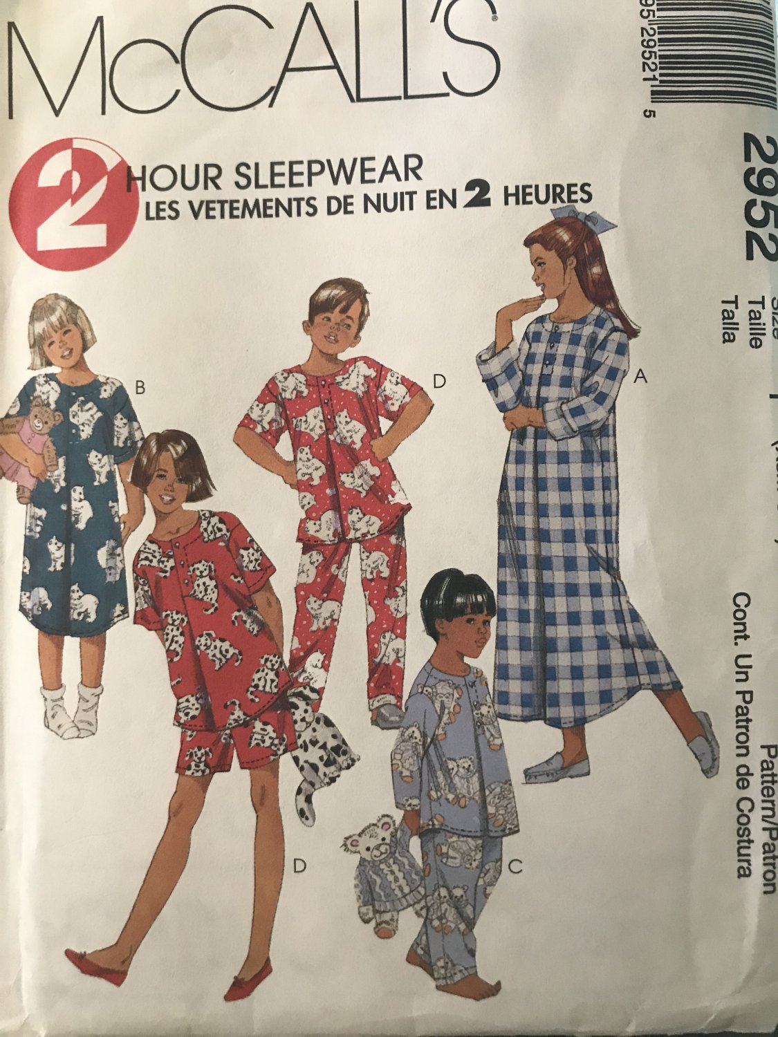 McCall's 2952 Children's Boy's and Girl's Sleepwear Sewing Pattern See menu for sizes