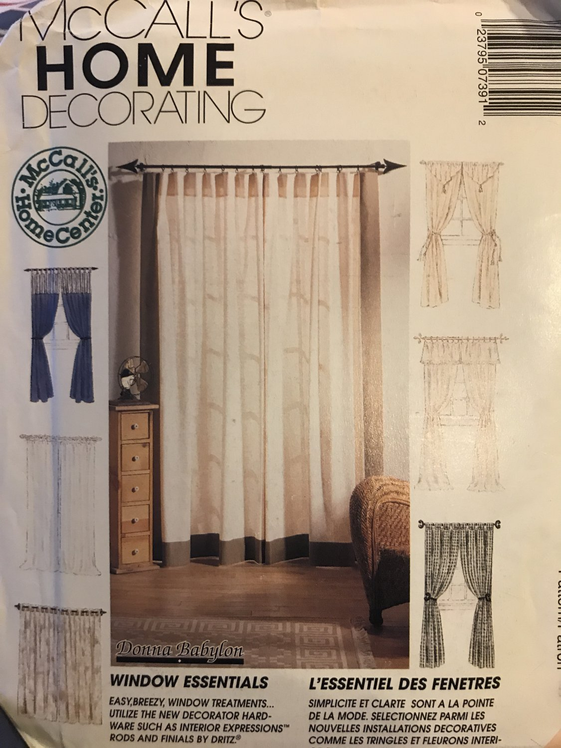 McCall's 739 Home Decorating Window Essentials, curtains, window treatments Sewing Pattern