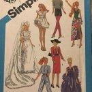 """Simplicity 6507 Wardrobe for 11 1/2"""" Dolls Barbie, Brooke Shields Sewing Pattern"""
