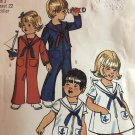 Simplicity 9947 Toddlers' Sailor Bell-Bottom Jumpsuit in Two Lengths & Dress Sewing Pattern SZ 3