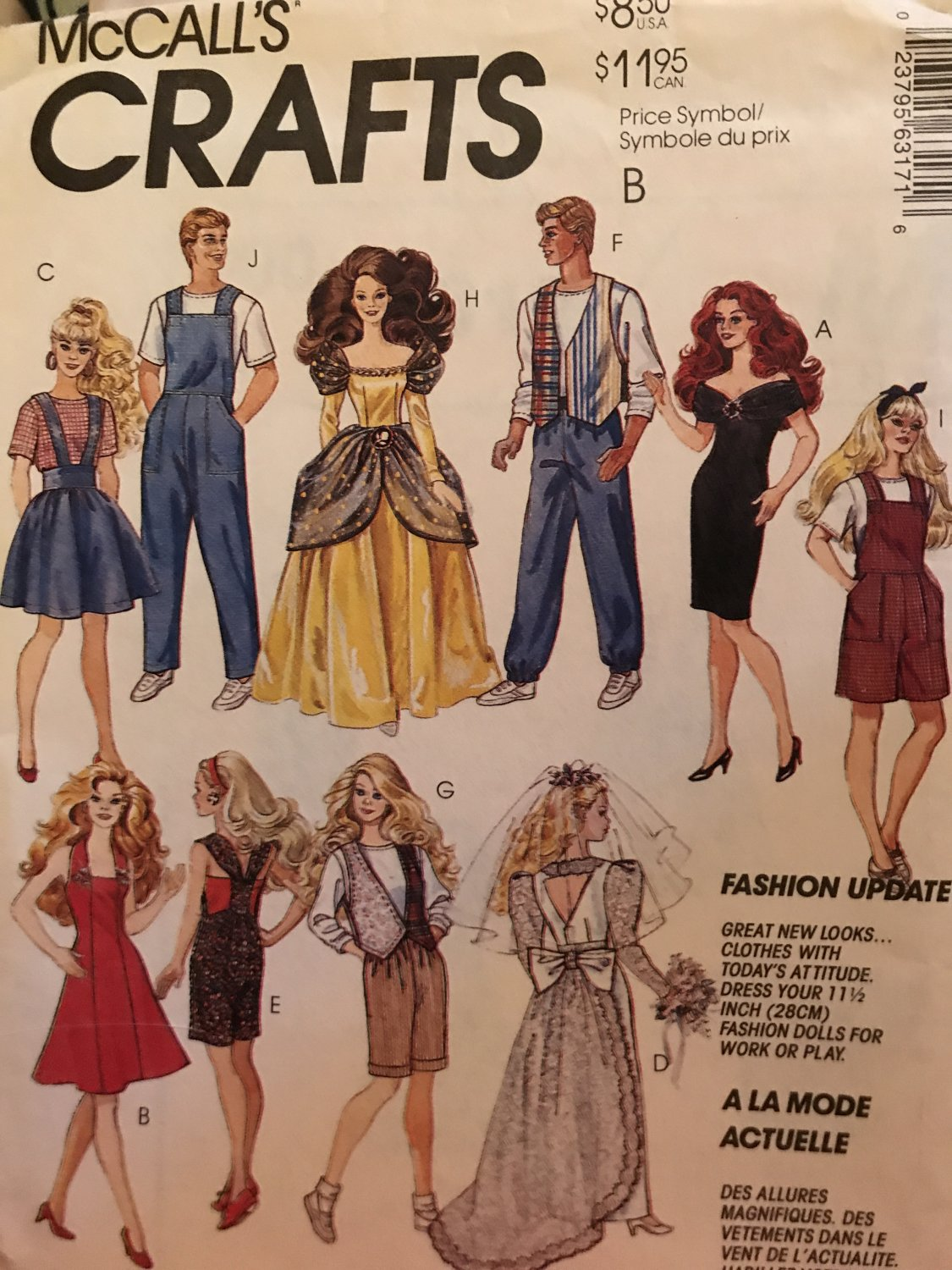 McCall's 6317 Fashion Doll Clothes Sewing Pattern from 1993