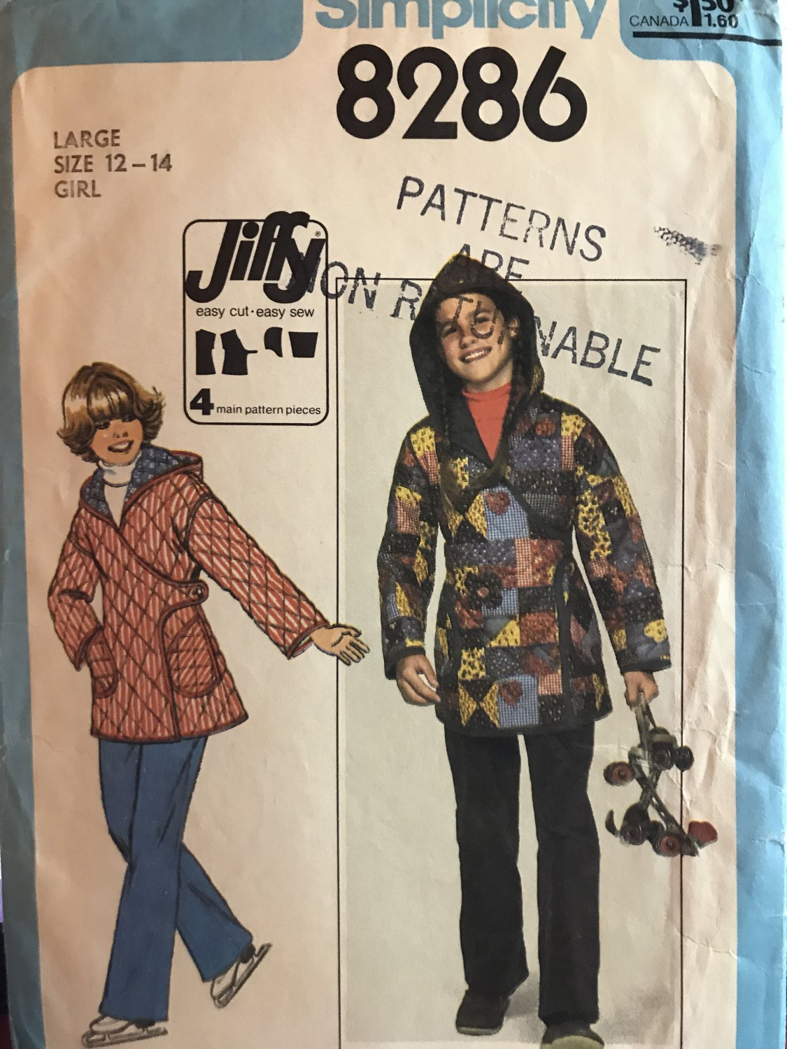 Simplicity 8286 Girls Jacket Sewing Pattern Vintage 1977 pattern Size 12 -14 with Kimono Sleeves