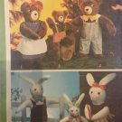 """Simplicity 9131 Set of Stuffed Animals. 14"""" and 22"""" Rabbit and Teddy Bears Sewing Pattern"""