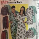 McCall's 3451 Misses & Mens Easy Nightshirt Top Pull-Up-Pants Size Size sm - large Sewing Pattern