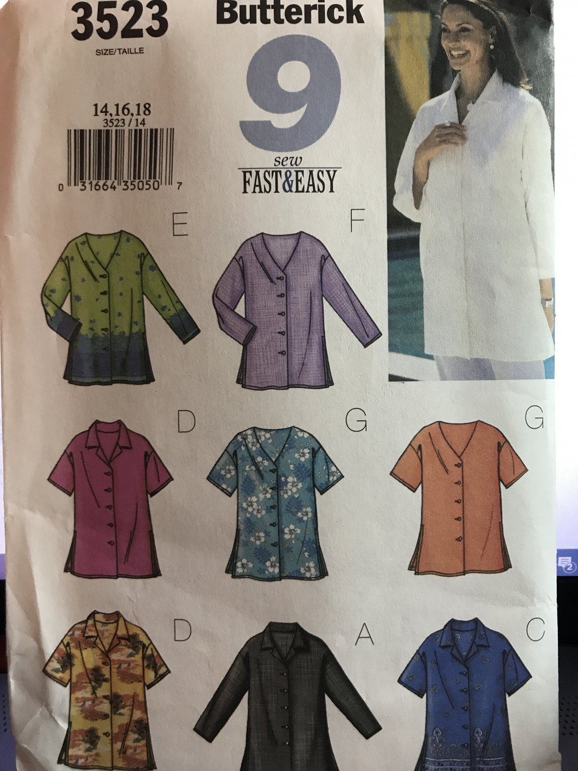 Butterick 3523 Misses Tops with Variations 9 Made Easy Sewing Pattern size 14 16 18