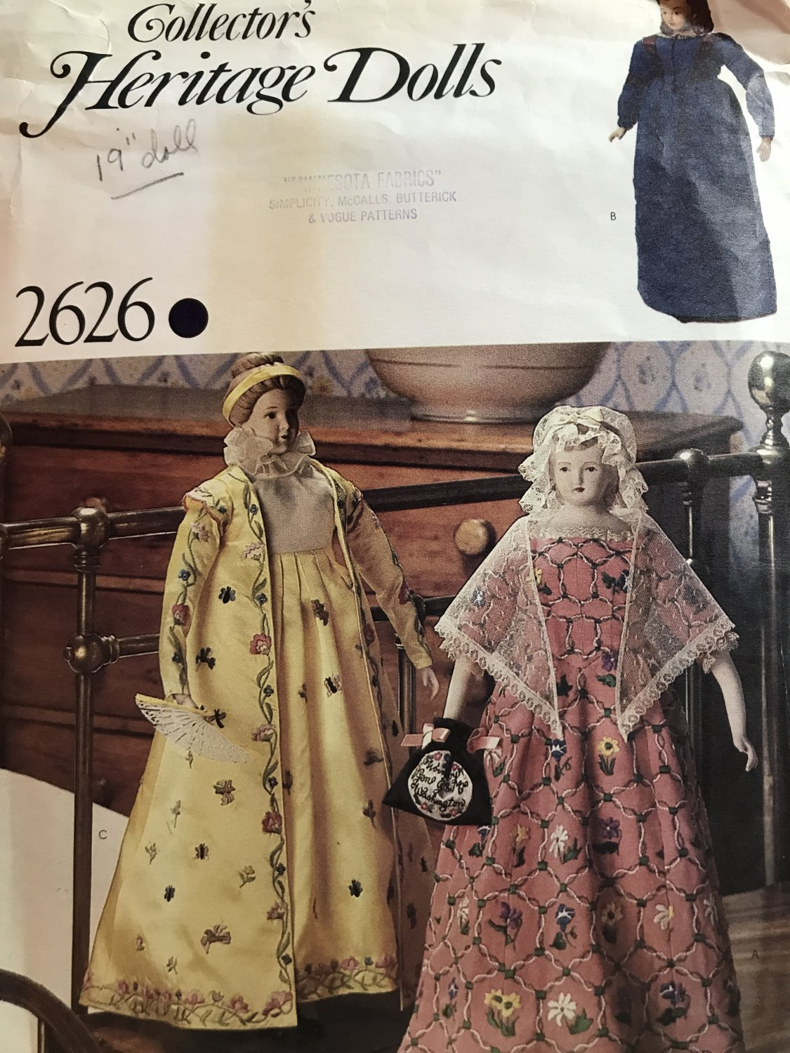 """Vogue 2626 Collector's Heritage Doll Clothes Sewing Pattern for 19"""" doll"""