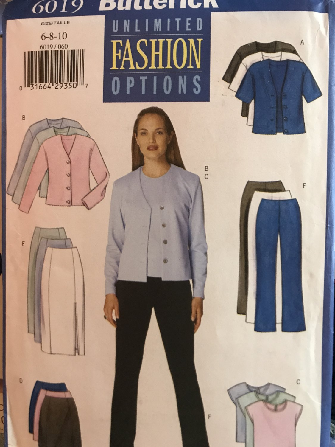 Butterick 6019 Unlimited Options MISSES' Skirt, pants, top, jacket Sewing Pattern Size 6 8 10