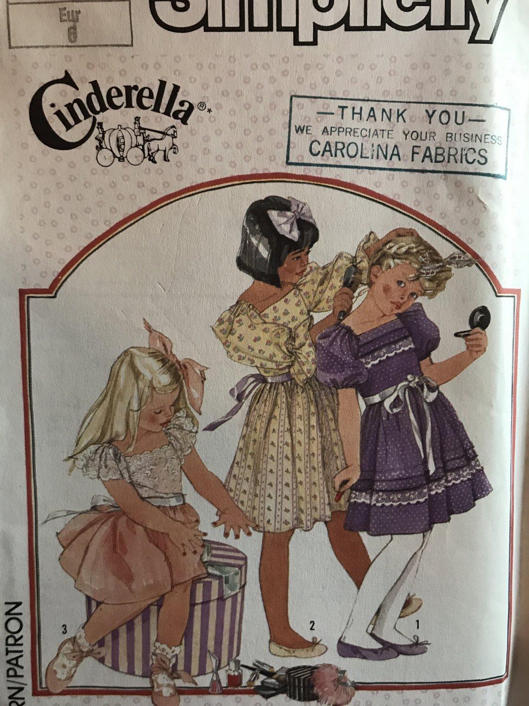 Simplicity 7347 Sewing Pattern Girls Full Skirt Dress, Party Dress, Cinderella Design Size 6