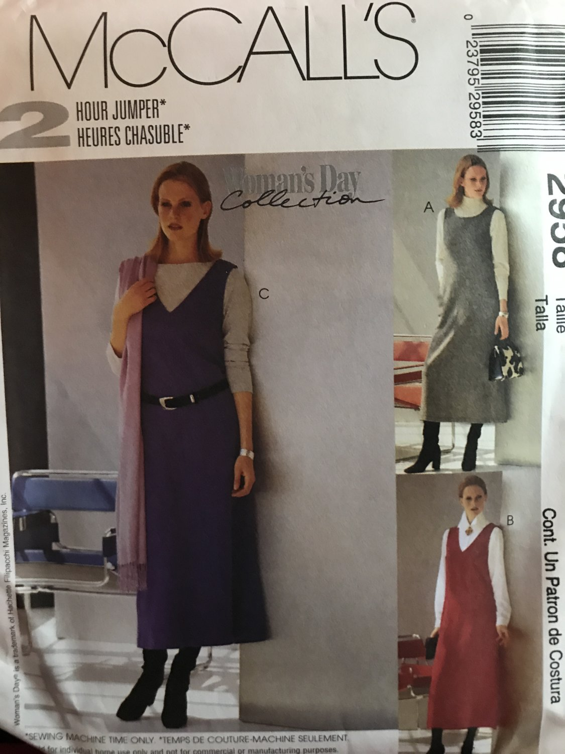 """McCall's 2958 Misses"""" Jumper with Neckline variations Sewing Pattern Size 12 14 16"""