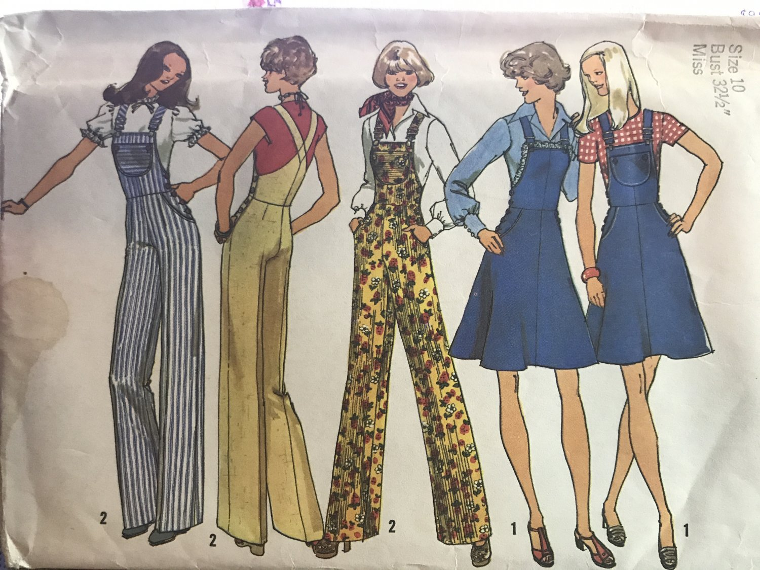 Simplicity 7006 1970s Misses Wide Leg Bib Overall Pants and Jumper Sewing Pattern Size 10