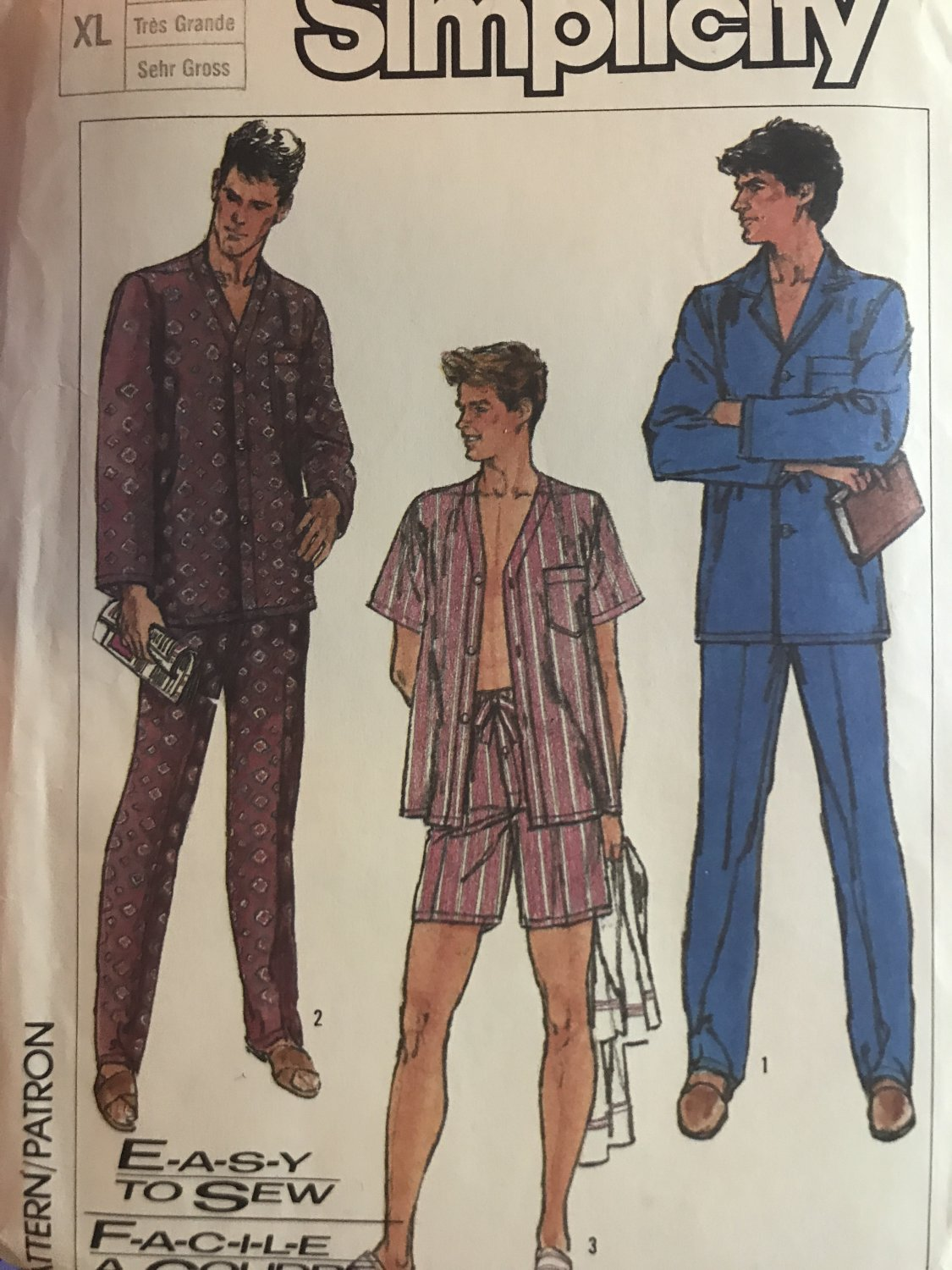 Simplicity 7677 Retro 80s Men's Pajamas Size Extra Large Chest  46 48 Sewing Pattern