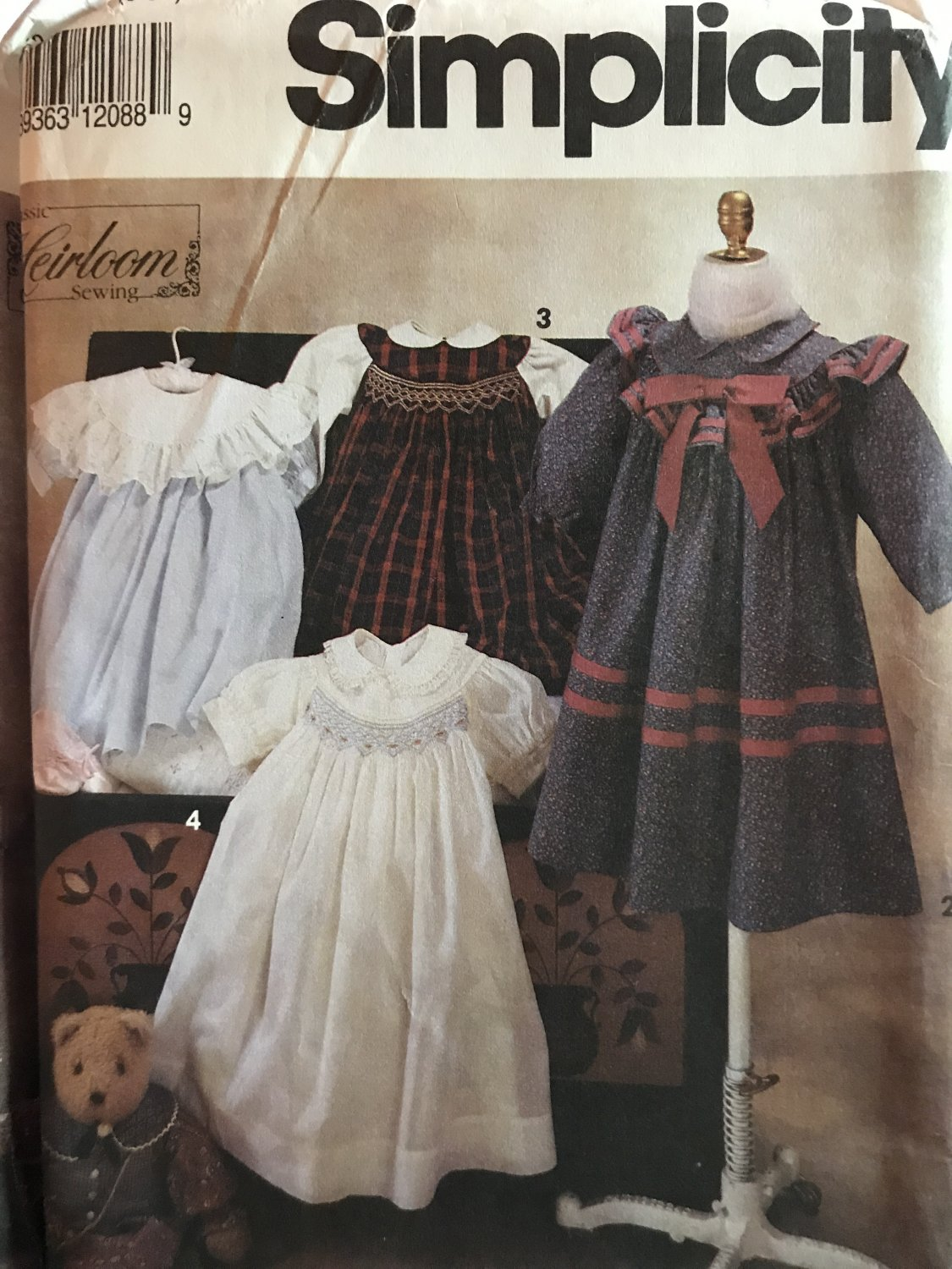 Simplicity 7644 Heirloom child's Dress Pattern with Smocking Oliver Goodin Sewing Pattern Size 5 6X